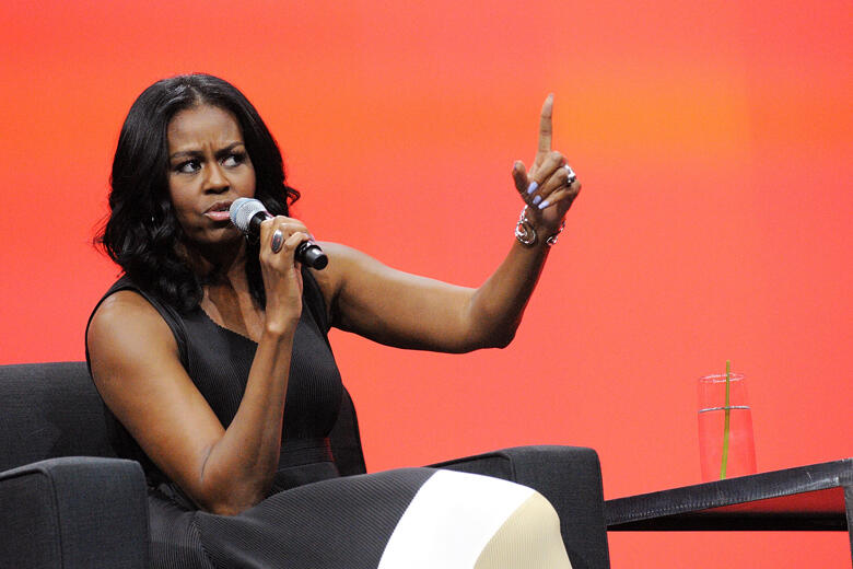 ORLANDO, FL - APRIL 27:  Former United States first lady Michelle Obama speaks during a conversation at the AIA Conference on Architecture 2017 on April 27, 2017 in Orlando, Florida. Michelle Obama is making one of her first public speeches at the Orlando