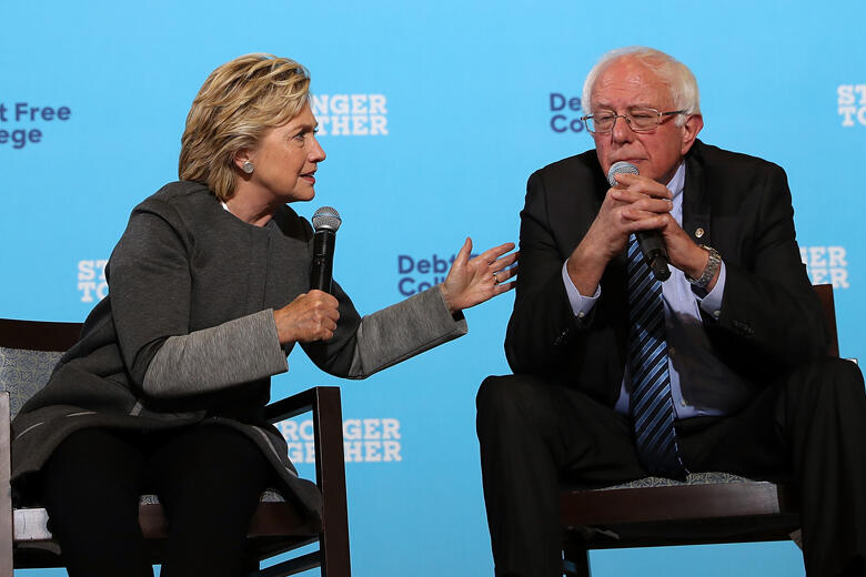 Bernie Sanders Joins Hillary Clinton At New Hampshire Campaign Event