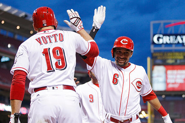 CINCINNATI, OH - MAY 03: Billy Hamilton #6 of the Cincinnati Reds celebrates with Joey Votto #19 after hitting a three-run home run in the fourth inning of a game against the Pittsburgh Pirates at Great American Ball Park on May 3, 2017 in Cincinnati, Ohio. (Photo by Joe Robbins/Getty Images)