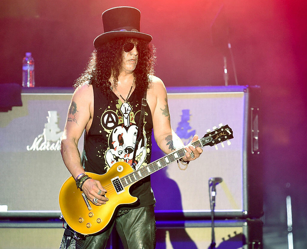 INDIO, CA - APRIL 16:  Musician Slash of Guns N' Roses performs onstage during day 2 of the 2016 Coachella Valley Music & Arts Festival Weekend 1 at the Empire Polo Club on April 16, 2016 in Indio, California.  (Photo by Kevin Winter/Getty Images for Coachella)
