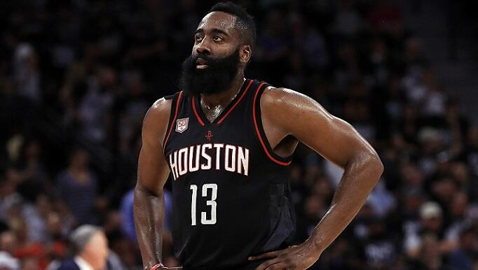 SAN ANTONIO, TX - MAY 01:  James Harden #13 of the Houston Rockets in the second quarter of play against the San Antonio Spurs during Game One of the NBA Western Conference Semi-Finals at AT&T Center on May 1, 2017 in San Antonio, Texas.  NOTE TO USER: Us