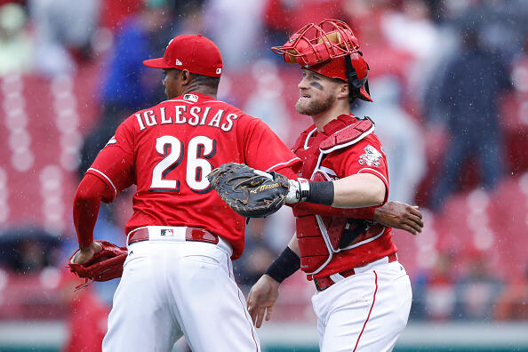 CINCINNATI, OH - MAY 04: Raisel Iglesias #26 and Tucker Barnhart #16 of the Cincinnati Reds celebrate after the final out in the ninth inning of a game against the Pittsburgh Pirates at Great American Ball Park on May 4, 2017 in Cincinnati, Ohio. The Reds defeated the Pirates 4-2. (Photo by Joe Robbins/Getty Images)