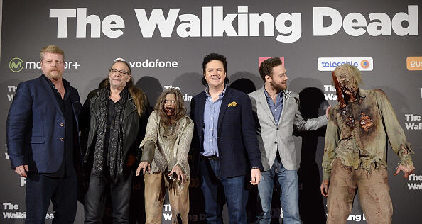MADRID, SPAIN - FEBRUARY 23:  (L-R) Michael Cudlitz, Greg Nicotero, Josh McDermitt and Ross Marquand attend the 'The Walking Dead' fan event at Callao Cinema on February 23, 2016 in Madrid, Spain.  (Photo by Fotonoticias/WireImage)