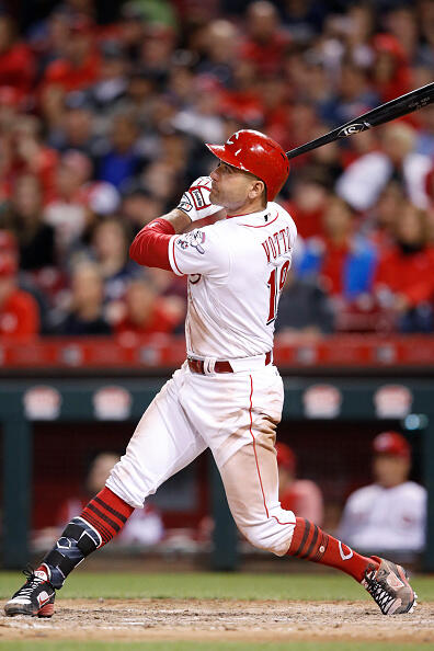 CINCINNATI, OH - MAY 08: Joey Votto #19 of the Cincinnati Reds hits a two-run home run against the New York Yankees in the seventh inning of a game at Great American Ball Park on May 8, 2017 in Cincinnati, Ohio. (Photo by Joe Robbins/Getty Images)