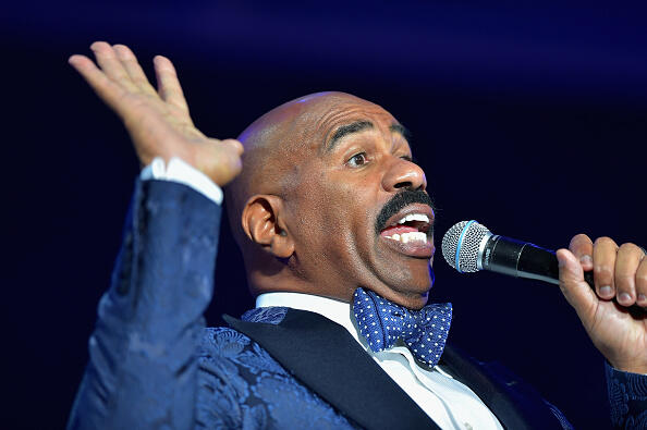 ATLANTA, GA - AUGUST 08:  Steve Harvey speaks at the 2015 Ford Neighborhood Awards Hosted By Steve Harvey at Phillips Arena on August 8, 2015 in Atlanta, Georgia.  (Photo by Moses Robinson/Getty Images for Neighborhood Awards)