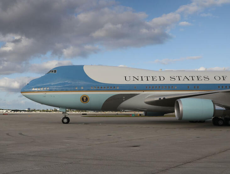 President Donald Trump, his wife Melania Trump arrive together on Air Force One at the Palm Beach International Airport to spend Easter weekend at Mar-a-Lago resort on April 13, 2017 in West Palm Beach, Florida. President Trump has made numerous trips to his Florida home and according to reports has cost over an estimated $20 million in his first 80 days in office.