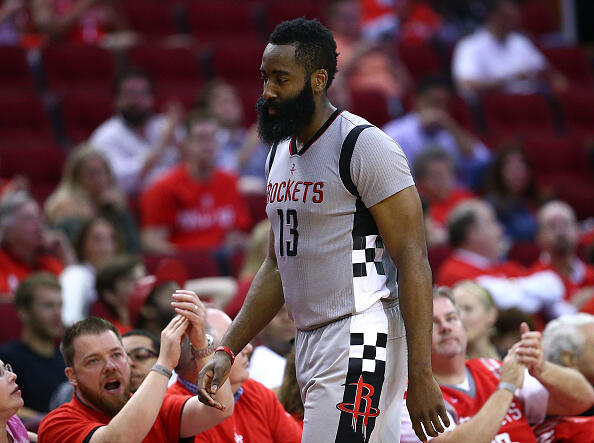 HOUSTON, TX - MAY 11:  James Harden #13 of the Houston Rockets reacts against the San Antonio Spurs during Game Six of the NBA Western Conference Semi-Finals at Toyota Center on May 11, 2017 in Houston, Texas.  NOTE TO USER: User expressly acknowledges and agrees that, by downloading and or using this photograph, User is consenting to the terms and conditions of the Getty Images License Agreement.  (Photo by Ronald Martinez/Getty Images)