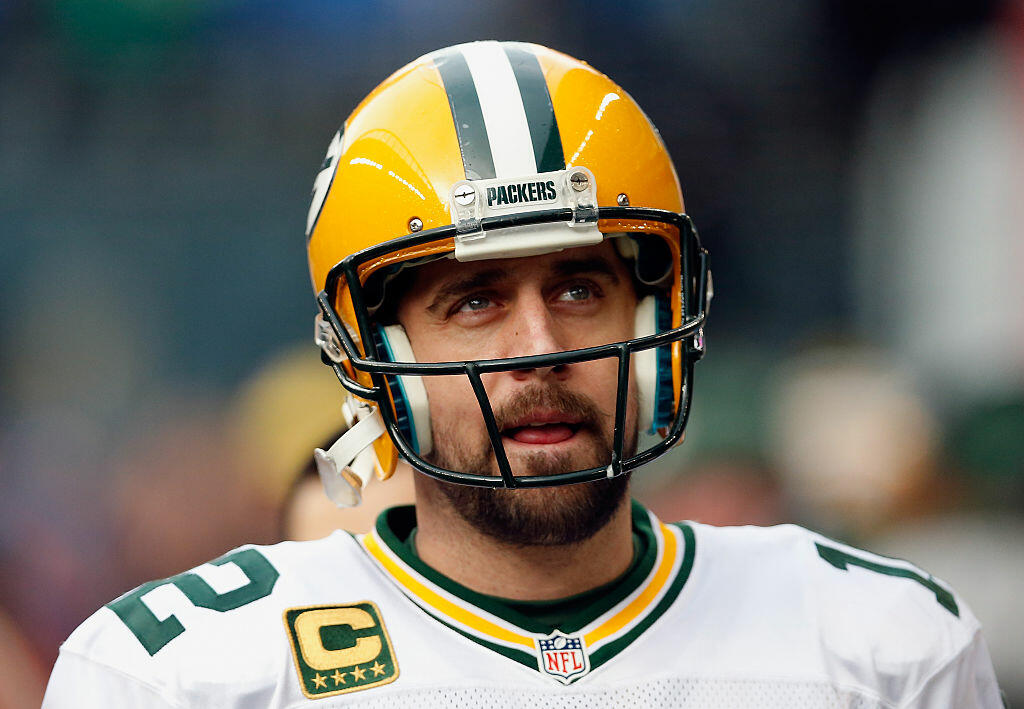 SEATTLE, WA - JANUARY 18:  Quarterback Aaron Rodgers #12 of the Green Bay Packers on the sidelines during the 2015 NFC Championship game against the Seattle Seahawks at CenturyLink Field on January 18, 2015 in Seattle, Washington. The Seahawks defeated the Packers 28-22 in overtime.  (Photo by Christian Petersen/Getty Images)