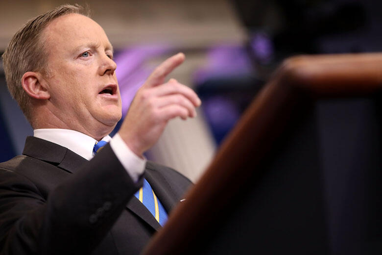 WASHINGTON, DC - MAY 15:  White House Press Secretary Sean Spicer calls on reporters during the daily press breifing at the White House May 15, 2017 in Washington, DC. Reporters continued to press Spicer about President Donald Trump's Tweet about the poss