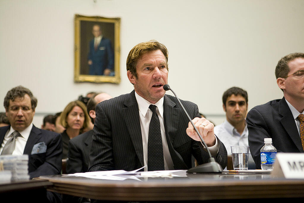 WASHINGTON - MAY 14:  Actor Dennis Quaid testifies at a hearing on Capitol Hill May 14, 2008 in Washington, DC. Quaid is the father of newborn twins who were victims of a near-fatal Heparin overdose and his testimony was in regards to the drug. Heparin is
