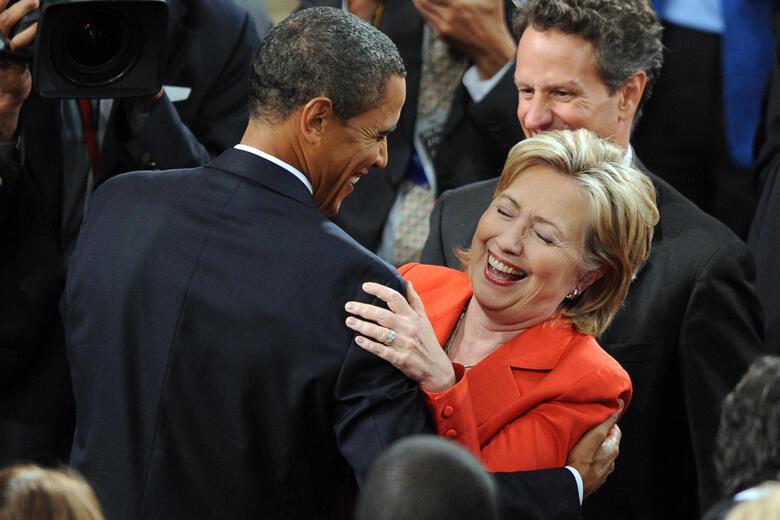 US President Barack Obama shares a laugh