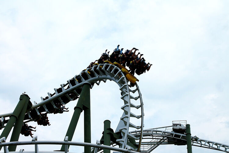 Low Angle View Of Rollercoaster At Heide Park Against Sky