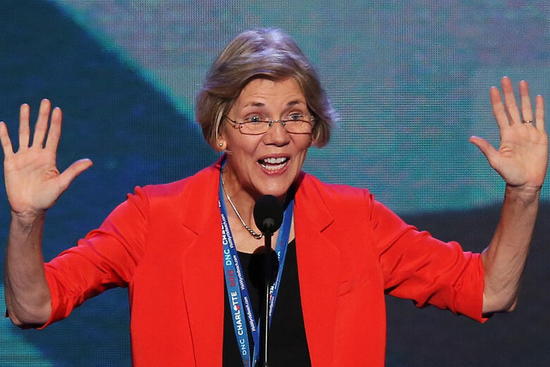 CHARLOTTE, NC - SEPTEMBER 04:  Massachusetts Senate candidate Elizabeth Warren stands at the podium on stage during a walkthrough during day one of the Democratic National Convention at Time Warner Cable Arena on September 4, 2012 in Charlotte, North Caro