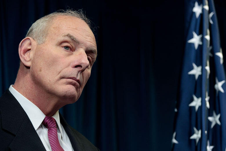 WASHINGTON, DC - JANUARY 31: Secretary of Homeland Security John Kelly listens to questions during a press conference related to President Donald Trump's recent executive order concerning travel and refugees, January 31, 2017 in Washington, DC. On Monday