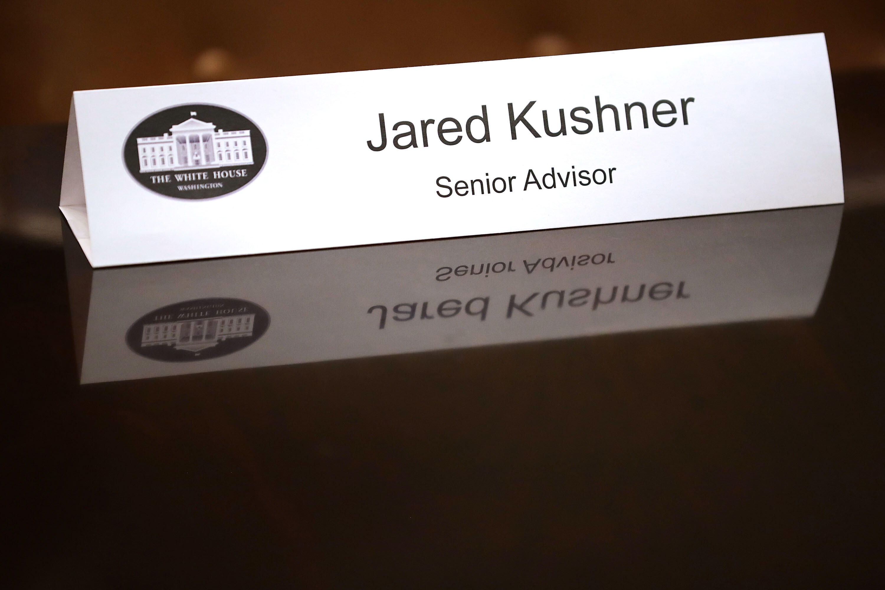 WASHINGTON, DC - JANUARY 31:  The name place card for White House Senior Advisor Jared Kushner, who is also the son-in-law of President Donald Trump, sits on the table before a meeting about cyber security in the Roosevelt Room at the White House January