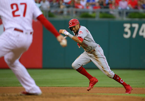PHILADELPHIA, PA - MAY 26: Billy Hamilton #6 of the Cincinnati Reds steals third base in the first inning during a game against the Philadelphia Phillies at Citizens Bank Park on May 26, 2017 in Philadelphia, Pennsylvania. The Reds won 5-2. (Photo by Hunter Martin/Getty Images)