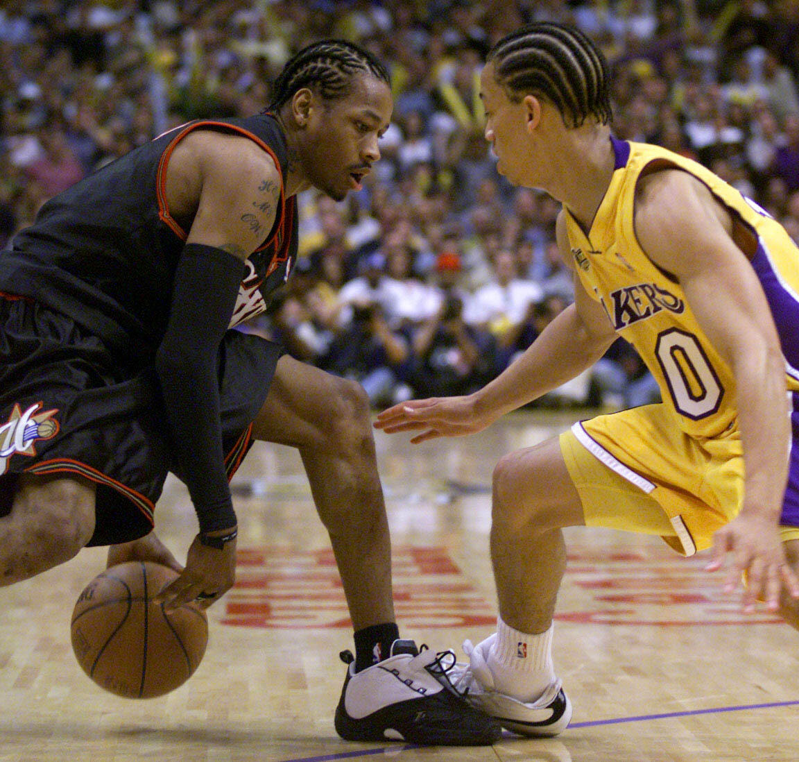 6 Jun 2001  Tyronn Lue  10 of the Los Angeles Lakers guards Allen Iverson.  On this day in NBA ... 3f89655a2