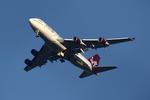 LONDON, ENGLAND - DECEMBER 29:  The suspected Virgin Atlantic Boeing 747 jumbo jet passenger plane hovers in the sky as it reportedly prepares for a non-standard landing at Gatwick airport in West Sussex on December 29, 2014 in London, England. Flight VS43 was traveling to Las Vegas and is returning to the airport due to a reported technical issue with one of the landing gears.  (Photo by Jordan Mansfield/Getty Images)