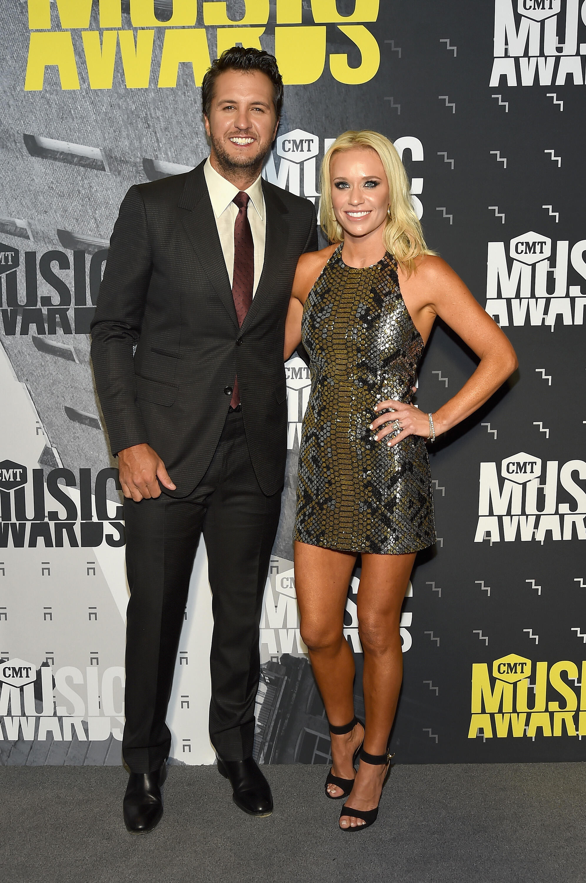 NASHVILLE, TN - JUNE 07: Singer-songwriter Luke Bryan (L) and Caroline Boyer attend the 2017 CMT Music awards at the Music City Center on June 7, 2017 in Nashville, Tennessee.  (Photo by Rick Diamond/Getty Images for CMT)