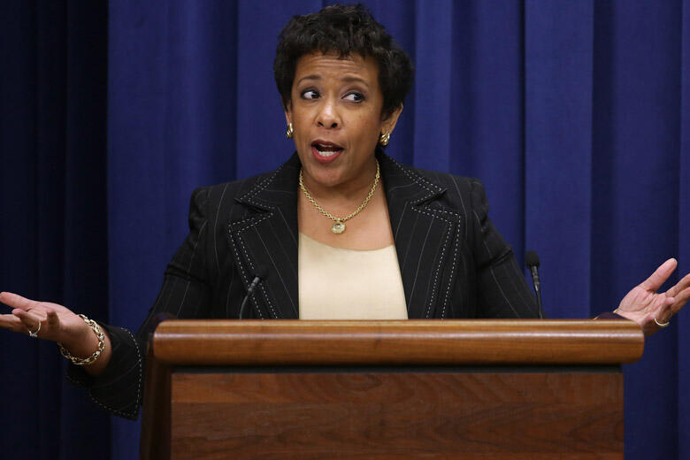 WASHINGTON, DC - DECEMBER 03:  U.S. Attorney General Loretta Lynch makes a brief statement about Wednesday's mass shooting in San Bernardino, California, ahead of her remarks during a criminal justices reform in the Eisenhower Executive Office Building De
