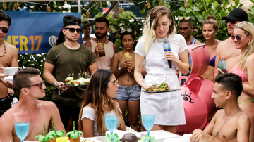 iHeartRadio Summer Pool Party - Watch Miley Cyrus Eat A Vegan Sausage Out Of A Fan's Mouth During iHeartSummer '17