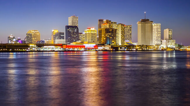Skyline of New Orleans Across the Mississippi River