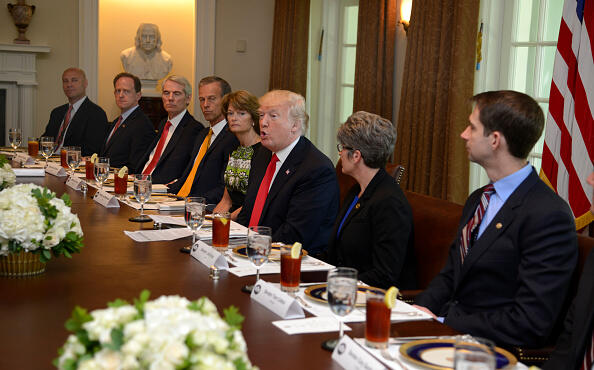 WASHINGTON, DC - JUNE 13:  President Donald Trump hosts a working lunch with members of Congress, including Sen. Tom Cotton (R-AR) (R), Sen. Joni Ernst (R-IA) (2nd, R) and (L-R) White House Director of Legislative Affairs Mark Short, Sen. Pat Toomey (R-PA), Sen. Rob Portman (R-OH), Sen. John Thune (R-SD) and Sen. Lisa Murkowski (R-AK) at the White House June 13, 2017, in Washington, DC. Trump and lawmakers discussed administration plans to reform the Affordable Care Act, also known as Obamacare.  (Photo by Mike Theiler-Pool/Getty Images)