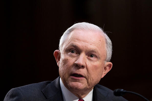 WASHINGTON, DC - JUNE 13: U.S. Attorney General Jeff Sessions testifies before the Senate Intelligence Committee on Capitol Hill June 13, 2017 in Washington, DC. Sessions recused himself from the Russia investigation and he was later discovered to have had contact with the Russian ambassador last year despite testifying to the contrary during his confirmation hearing.  (Photo by Zach Gibson/Getty Images)