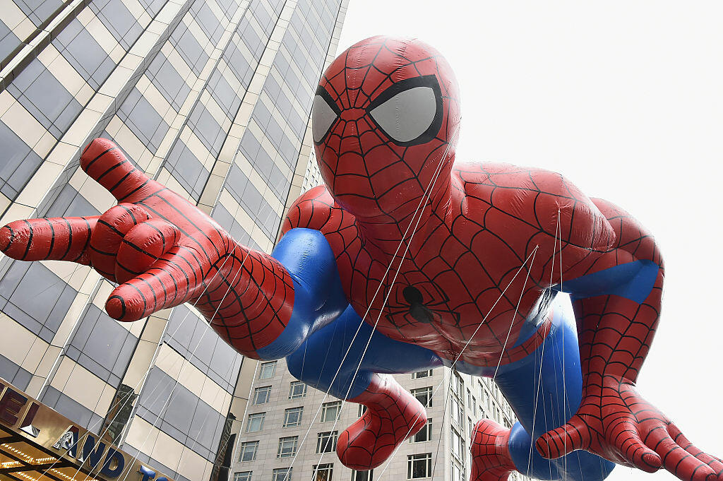 NEW YORK, NY - NOVEMBER 27:  Spiderman balloon during the 88th Annual Macy's Thanksgiving Day Parade on November 27, 2014 in New York City.  (Photo by Theo Wargo/Getty Images)