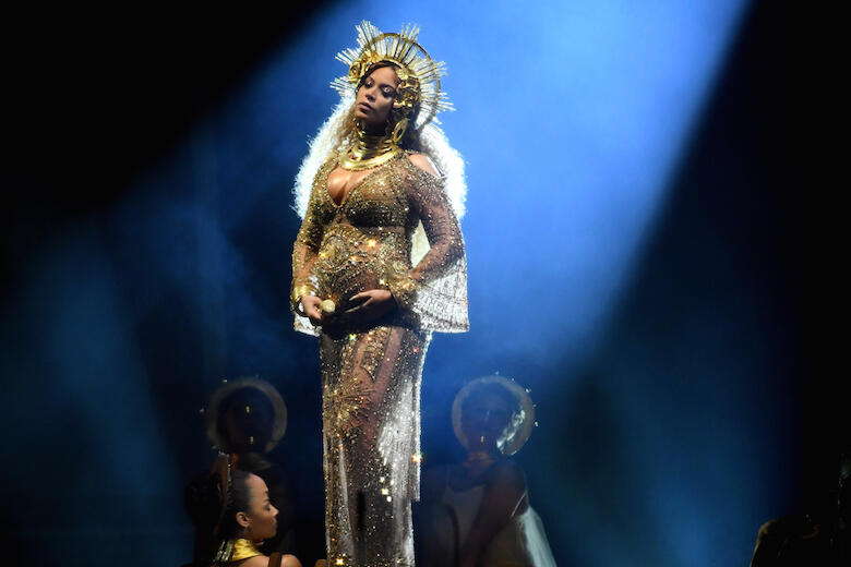 LOS ANGELES, CA - FEBRUARY 12:  Recording artist Beyonce performs onstage during The 59th GRAMMY Awards at STAPLES Center on February 12, 2017 in Los Angeles, California.  (Photo by Kevork Djansezian/Getty Images for NARAS)