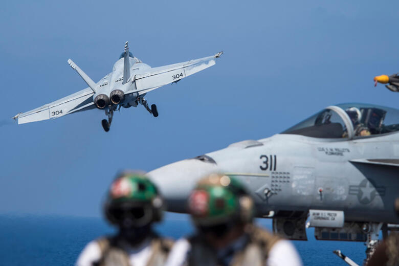 MEDITERRANEAN SEA - JUNE 6:  In this handout provided by the U.S. Navy,  an F/A-18E Super Hornet attached to the