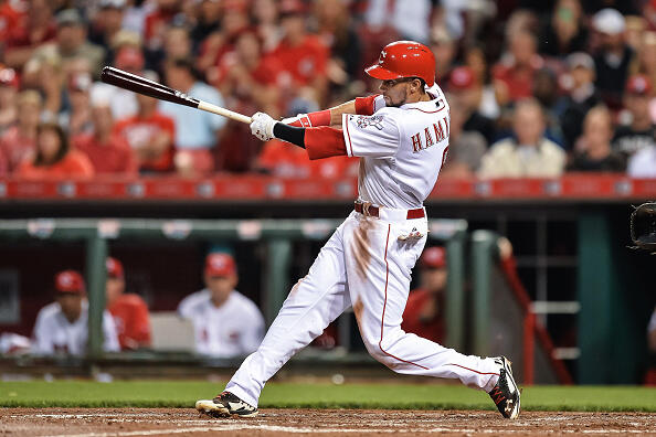 CINCINNATI, OH - MAY 11:  Billy Hamilton #6 of the Cincinnati Reds bats against the Atlanta Braves at Great American Ball Park on May 11, 2015 in Cincinnati, Ohio.   (Photo by Jamie Sabau/Getty Images)