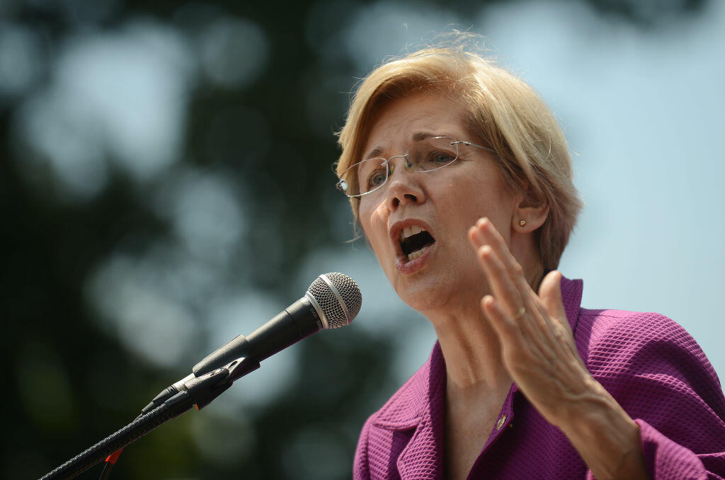 WASHINGTON, DC - JUNE 21: U.S. Sen. Elizabeth Warren (D-MA) speaks at a rally to oppose the repeal of the Affordable Care Act and its replacement on Capitol Hill on June 21, 2017 in Washington, DC. Criticism is mounting on the GOP for health care reform legislation being done behind closed doors. (Photo by Astrid Riecken/Getty Images)