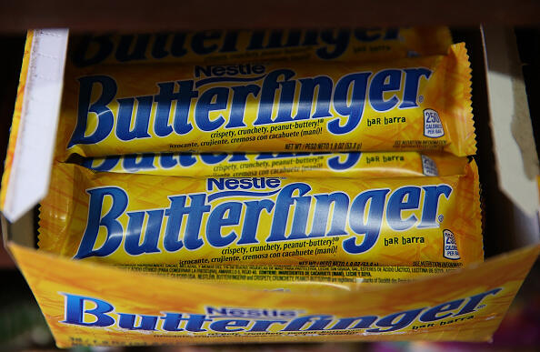 SAN FRANCISCO, CA - FEBRUARY 18:  Nestle Butterfinger candy bars are displayed on a shelf at a convenience store on February 18, 2015 in San Francisco, California.  Nestle USA announced plans to remove all artificial flavors and FDA-certified colors from its entire line of chocolate candy products, including the popular Butterfinger and Baby Ruth candy bars, by the end of 2015.  (Photo by Justin Sullivan/Getty Images)
