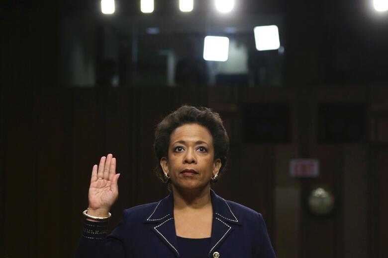 WASHINGTON, DC - JANUARY 28:  U.S. Attorney for the Eastern District of New York Loretta Lynch is sworn in before testifing during her confirmation hearing before the Senate Judiciary Committee January 28, 2015 on Capitol Hill in Washington, DC. If confir