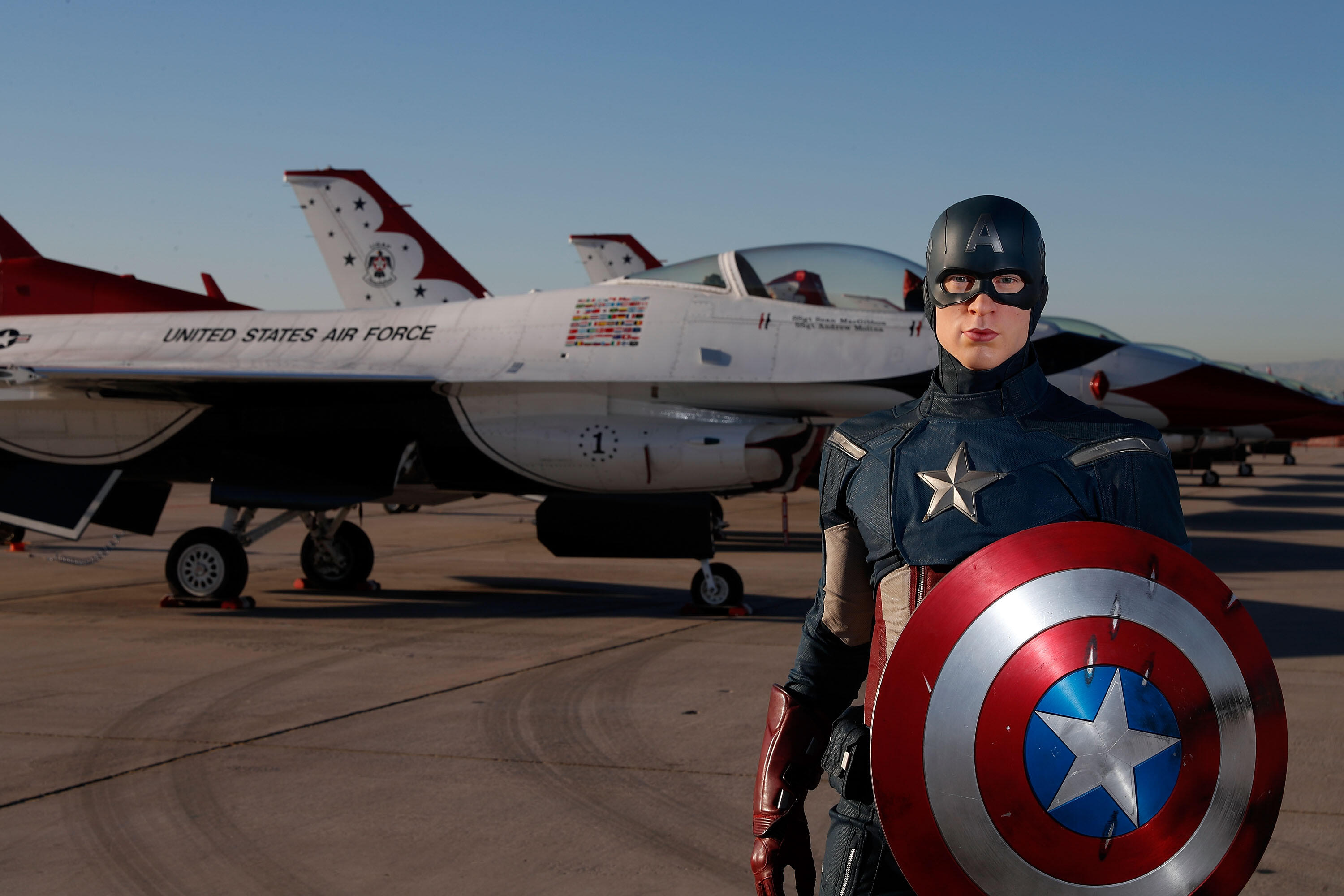 LAS VEGAS, NV - NOVEMBER 11:  In honor of Vererans Day Madame Tussauds unveils the all-American hero Captain America at Nellis Air Force Base on November 11, 2016 in Las Vegas, Nevada.  (Photo by Isaac Brekken/Getty Images for Madame Tussauds Las Vegas)