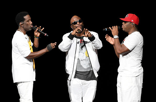 LAS VEGAS, NV - MAY 28:  (L-R) Singers Shawn Stockman, Wanya Morris and Nathan Morris of Boyz II Men perform during a stop of The Total Package Tour at T-Mobile Arena on May 28, 2017 in Las Vegas, Nevada.  (Photo by Ethan Miller/Getty Images)