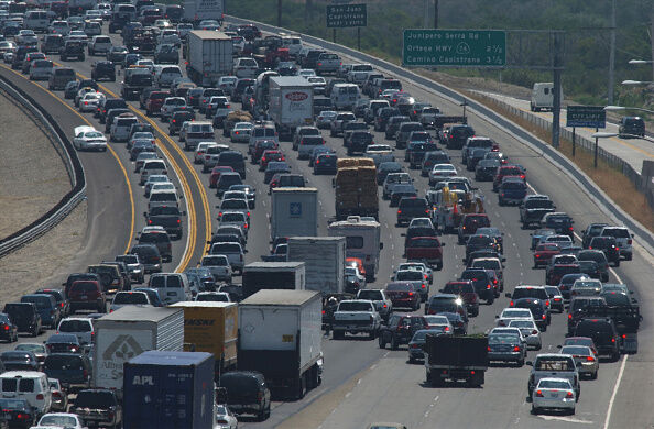 Southbound I–5 traffic at the Hwy 73 merge is part of a nearly 10–mile–long traffic jam on the morni