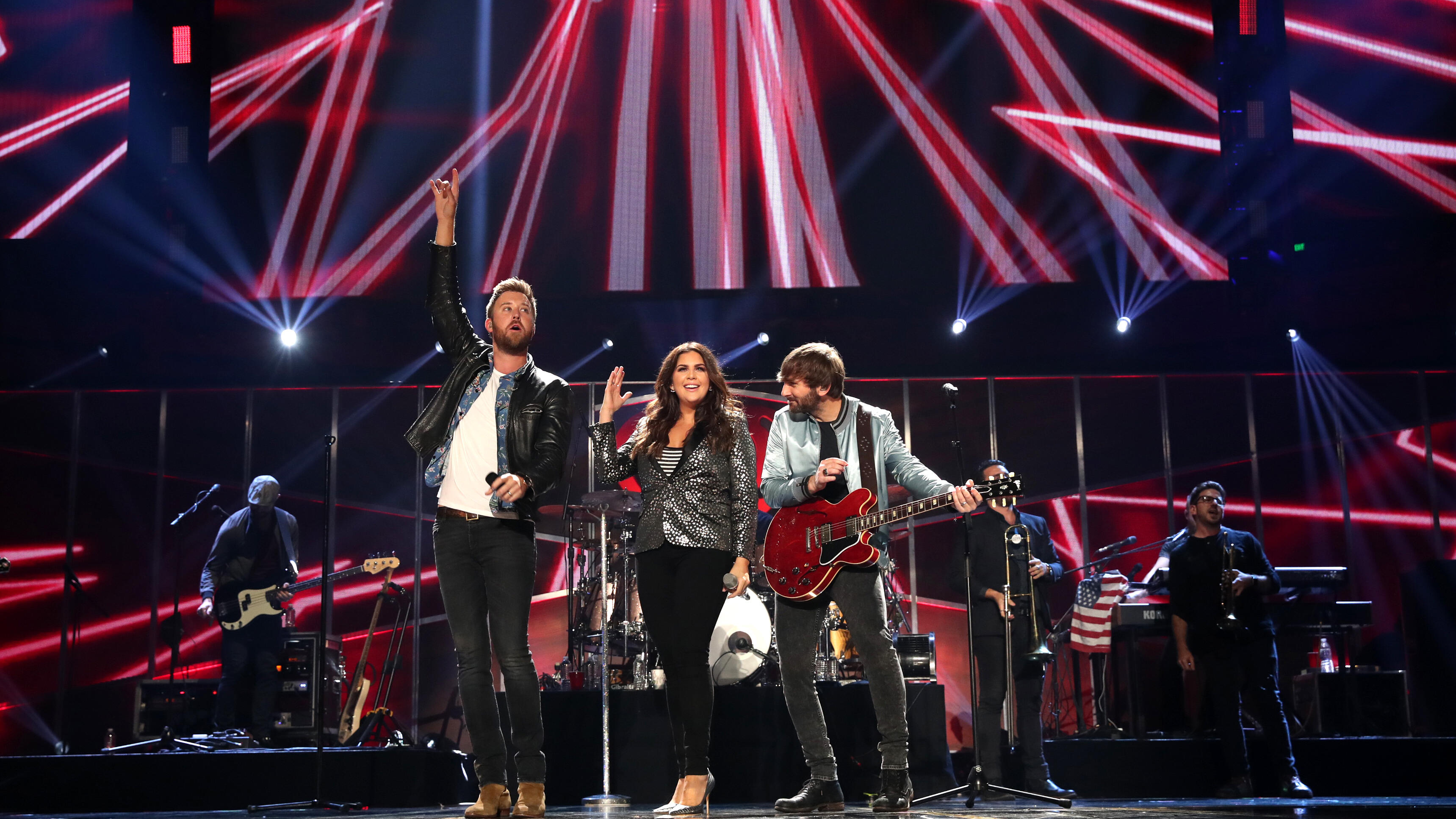 AUSTIN, TX - MAY 06:  (L-R) Singers Charles Kelley, Hillary Scott, and Dave Haywood of Lady Antebellum perform onstage during the 2017 iHeartCountry Festival, A Music Experience by AT&T at The Frank Erwin Center on May 6, 2017 in Austin, Texas.  (Photo by