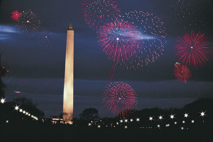 Washington Monument and fireworks , Washington DC