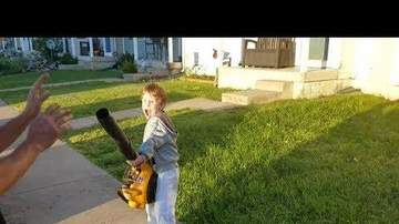 Chris Carmichael - VIDEO: This Kid LOVES His Leaf Blower
