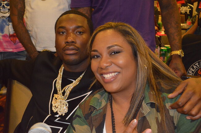 Meek Mill and Cappuchino in the 2017 BET Awards Radio Room