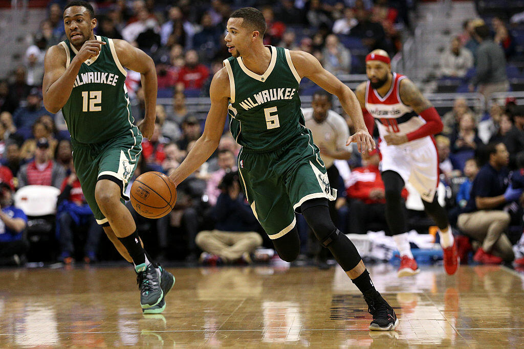 WASHINGTON, DC - JANUARY 13: Michael Carter-Williams #5 of the Milwaukee Bucks dribbles up the court in the first half against the Washington Wizards at Verizon Center on January 13, 2016 in Washington, DC. NOTE TO USER: User expressly acknowledges and agrees that, by downloading and or using this photograph, User is consenting to the terms and conditions of the Getty Images License Agreement. (Photo by Patrick Smith/Getty Images)