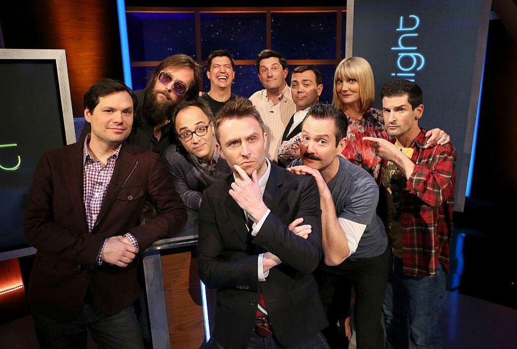 LOS ANGELES, CA - JANUARY 27:  (L-R) Comedian Michael Ian Black, director Michael Patrick Jann, comedians David Wain, Ken Marino, Chris Hardwick, Michael Showalter, Lo Truglio, Thomas Lennon, Kerri Kenney-Silver and Robert Ben Garant pose for a photo as T