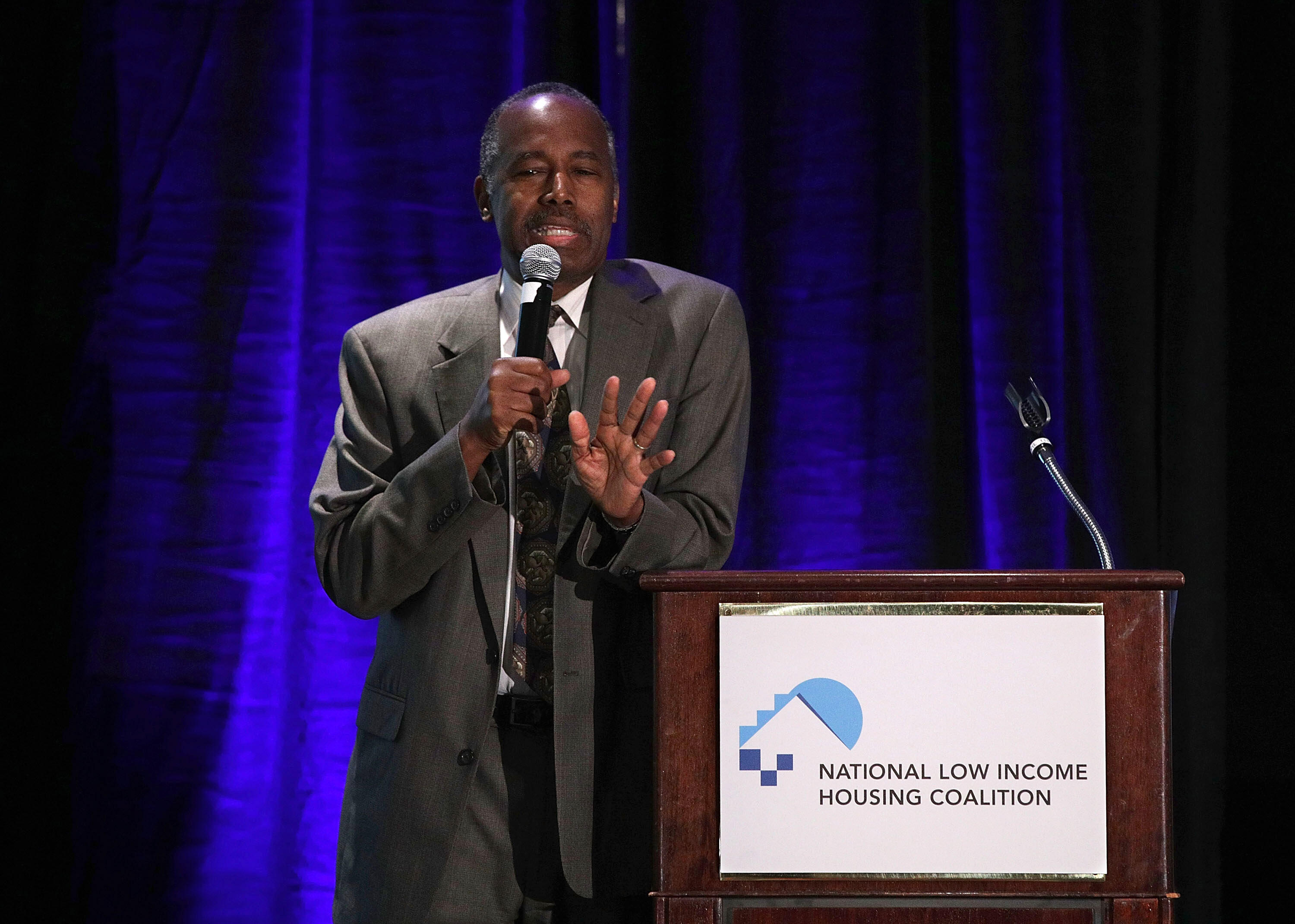 WASHINGTON, DC - APRIL 03:  U.S. Secretary of Housing and Urban Development Ben Carson delivers the keynote speech during a conference luncheon hosted by National Low Income Housing Coalition April 3, 2017 in Washington, DC. Secretary Carson addressed the