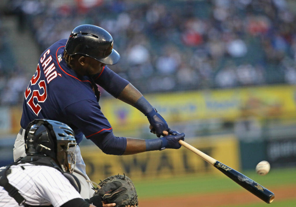 CHICAGO, IL - MAY 11:  Miguel Sano #22 of the Minnesota Twins hits a solo home run in the 2nd inning against the Chicago White Sox at Guaranteed Rate Field on May 11, 2017 in Chicago, Illinois.  (Photo by Jonathan Daniel/Getty Images)