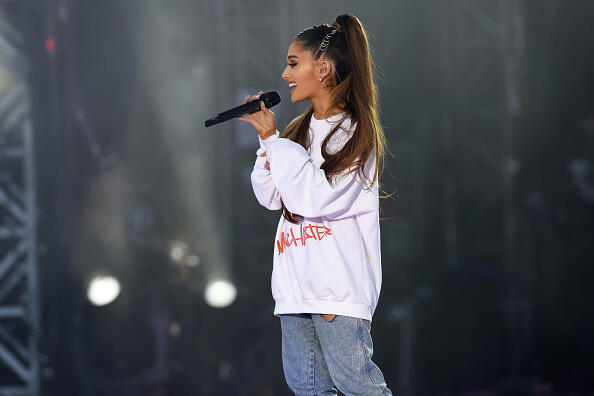 MANCHESTER, ENGLAND - JUNE 04:  NO SALES, free for editorial use. In this handout provided by 'One Love Manchester' benefit concert Ariana Grande performs on stage on June 4, 2017 in Manchester, England. Donate at www.redcross.org.uk/love  (Photo by Getty Images/Dave Hogan for One Love Manchester)