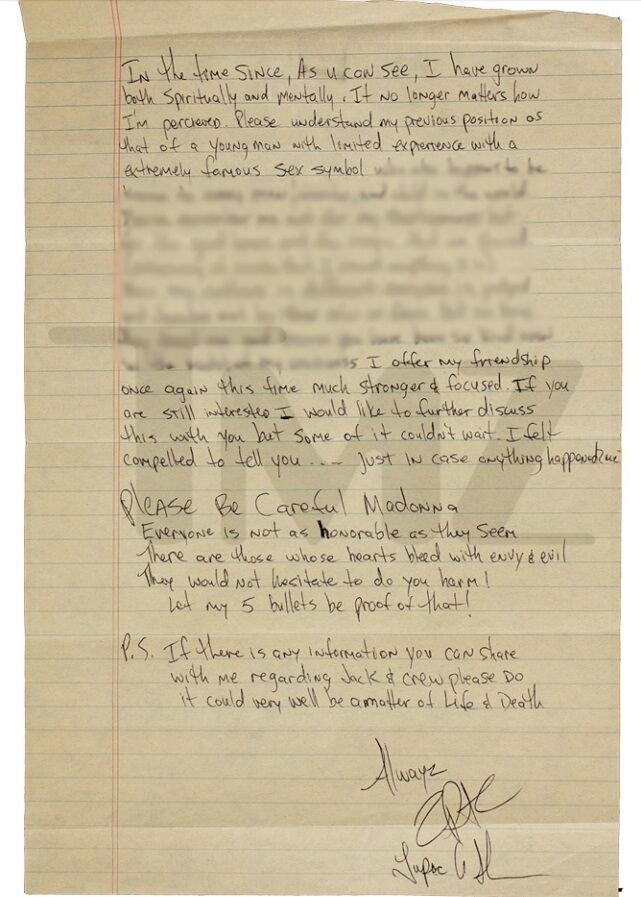 Tupac letter to Madonna