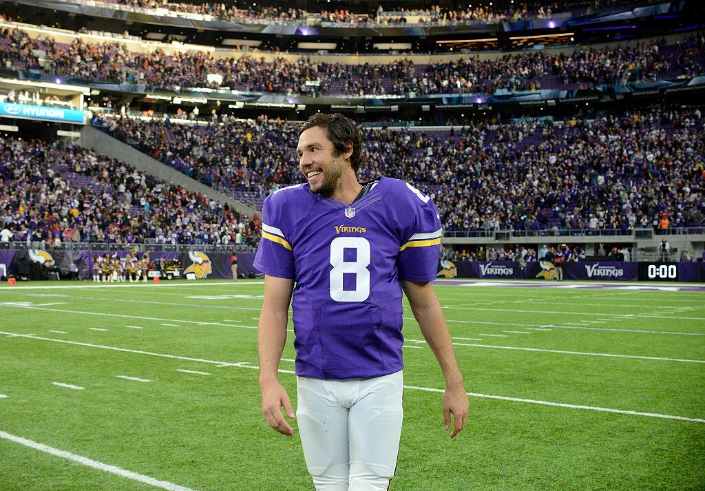 MINNEAPOLIS, MN - NOVEMBER 20: Sam Bradford #8 of the Minnesota Vikings on field after the game against the Arizona Cardinals on November 20, 2016 at US Bank Stadium in Minneapolis, Minnesota. The Vikings defeated the Cardinals 30-24. (Photo by Hannah Foslien/Getty Images)