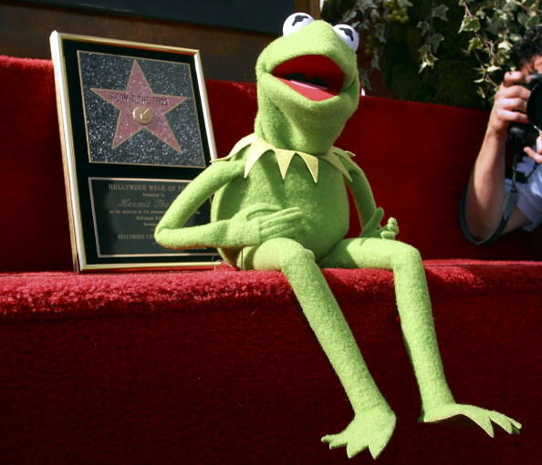 Kermit the Frog greets the public during the unvei